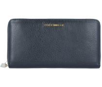 Metallic Soft Geldbörse Leder 19,5 cm noir
