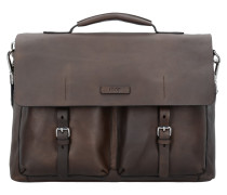 Missori Kreon Messenger Aktentasche Leder 40 cm Laptopfach brown