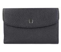 Basics Geldbörse Leder 16 cm schwarz