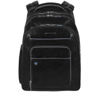 Blue Square Business Rucksack Leder 31 cm Laptopfach schwarz
