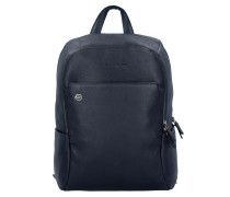 Black Square Rucksack Leder 39 cm Laptopfach blue