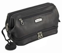 Country Kulturtasche Leder 27 cm schwarz