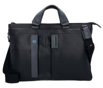 Expandable Slim Aktentasche Leder 43 cm Laptopfach black