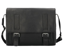 Turnham Messenger Leder 40cm Laptopfach black