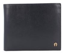 Basics Geldbörse Leder 12 cm schwarz