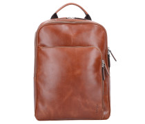 Buddy Business Rucksack Leder 39 cm Laptopfach cognac