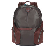 Coleos Rucksack Leder 42,5 cm Laptopfach dark brown