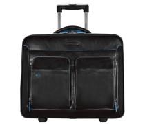 Blue Square 2-Rollen Kabinentrolley Leder 44 cm Laptopfach black