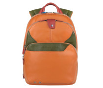 Coleos Rucksack Leder 36 cm Laptopfach orange