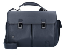 Black Square Aktentasche Leder 43 cm Laptopfach blue