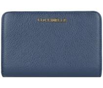 Metallic Soft Geldbörse Leder 14 cm bleu