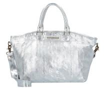 Handtasche Leder 33 cm silberfarben