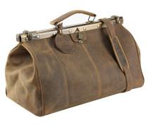 Antik Bügel-Reisetasche Leder 45 cm natur