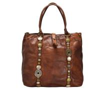 Handtasche Leder 30 cm cognac