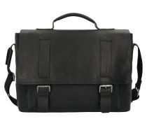 Turnham Aktentasche Leder 40cm Laptopfach black
