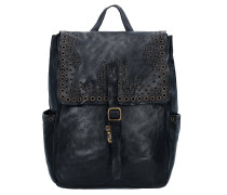 Traditional City Rucksack Leder 35 cm nero