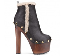 Black leather boots with shearling TROPEZ