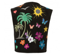 Women's black calf suede vest with embroideries CALIFORNIA
