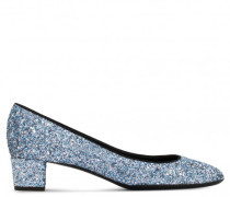 30 mm blue fabric pump with glitter PATTY