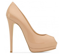 Blush patent leather open-toe pump SHARON 120