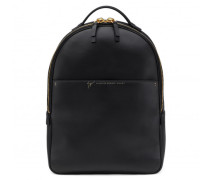 Matt black calfskin leather backpack STANFORD