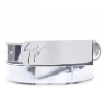 Silver patent leather belt with plate LANE