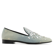 Denim and leather loafer with crystals REFLECT