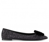 Black fabric ballet flat with glitter and bow KAROLINA GLITTER