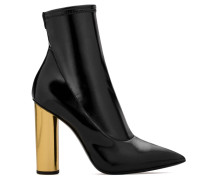 Laminated stretch fabric boot with gold chunky heel MAIDA