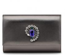 Grey metal leather clutch with crystals GILDA