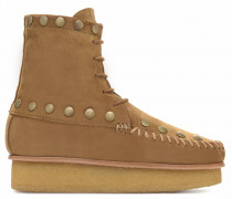 Camel calf suede ankle boot SINAI HIGH