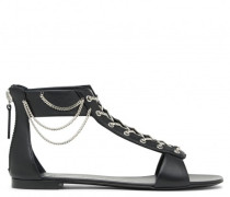 Black calfskin flat sandals with chain details LAYLA