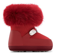Red tissue and leather baby's sky boot with with faux-fur SAMMY JR.