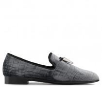 Grey crocodile embossed velvet loafer SPACEY