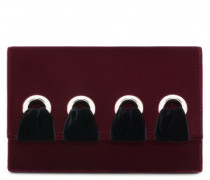 Burgundy velvet clutch with lace JEANNINE