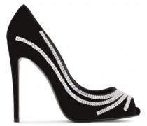 Black suede pump with crystals CLIO