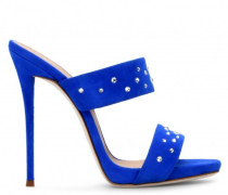 Blue suede leather mule with crystals ANDREA CRYSTAL