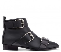 Black calfskin leather boot with buckle details AMBER