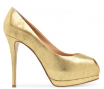 Gold patent leather open-toe pump SHARON
