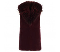 Burgundy shearling vest with fur LILIA