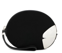 Black suede clutch with metal insert GINNY