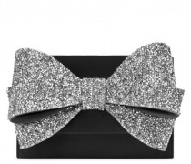 190x135 mm black suede clutch with bow accessory CHARLOTTE