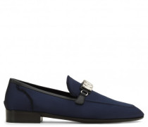 Blue satin loafer with crystal accessory WILLIAM