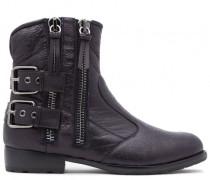 Black calfskin boots with blue internal fur HARLEY
