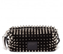 Black suede clutch with studs PARK
