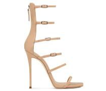 Blush patent sandal with six adjustable straps MARGARET