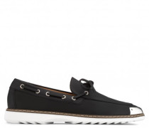 Black textured leather loafer with metal tip ALFRED