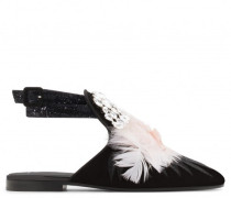 Flat black velvet shoes with crystals and feathers GIOIA
