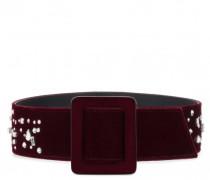 Burgundy velvet belt with crystals THE DAZZLING BEZZIE