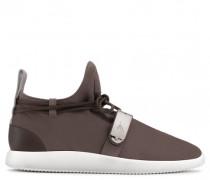 Brown suede sneaker with metal accessory HAYDEN